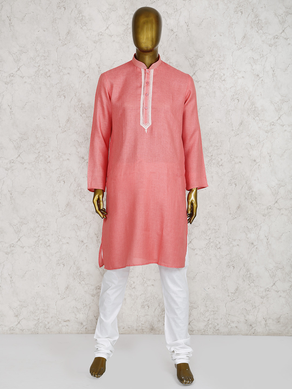 Pink cotton fabric festive function kurta suit?imgeng=w_400