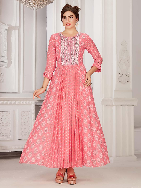 Pink cotton printed kurti with round neck?imgeng=w_400