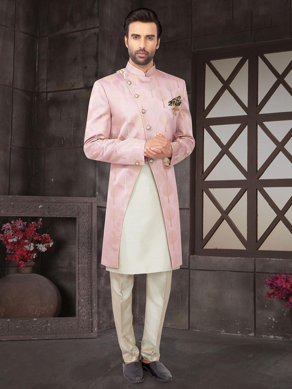 Pink cotton silk mens indo western wedding wear?imgeng=w_400