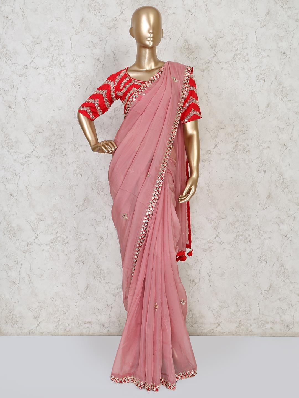 Pink designer orgenza tissue silk saree for party?imgeng=w_400