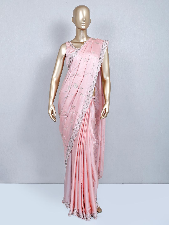 Pink designer satin saree with readymade blouse?imgeng=w_400