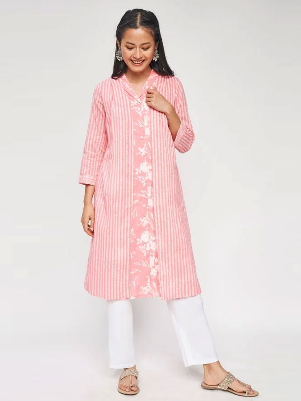 Pink Floral Printed Kurta?imgeng=w_400