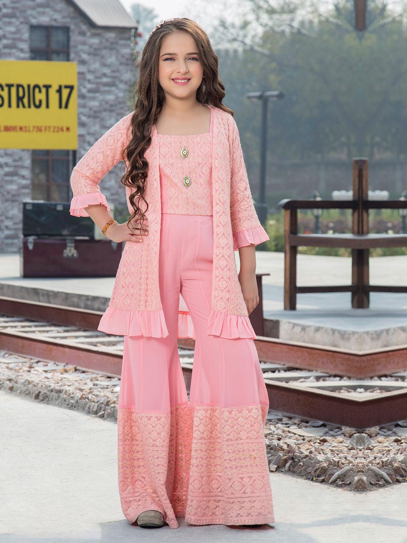 Pink georgette designer jacket style punjabi sharara suit?imgeng=w_400