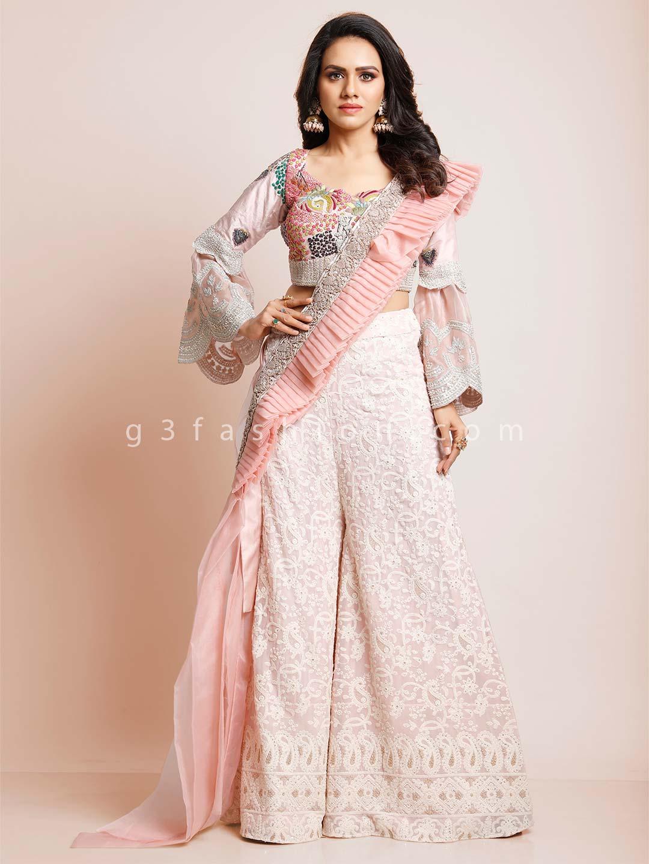 Pink georgette wedding indowestern salwar suit?imgeng=w_400