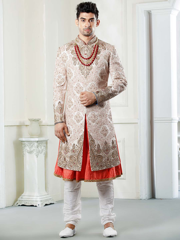 Pink hue raw silk fabric wedding function sherwani?imgeng=w_400