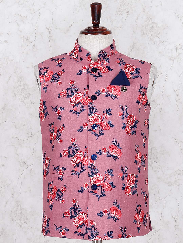 Pink linen printed linen waistcoat ?imgeng=w_400