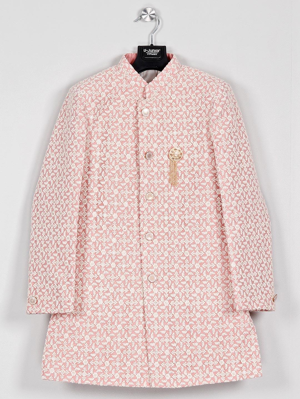 Pink net fabric chinese neck indo western?imgeng=w_400