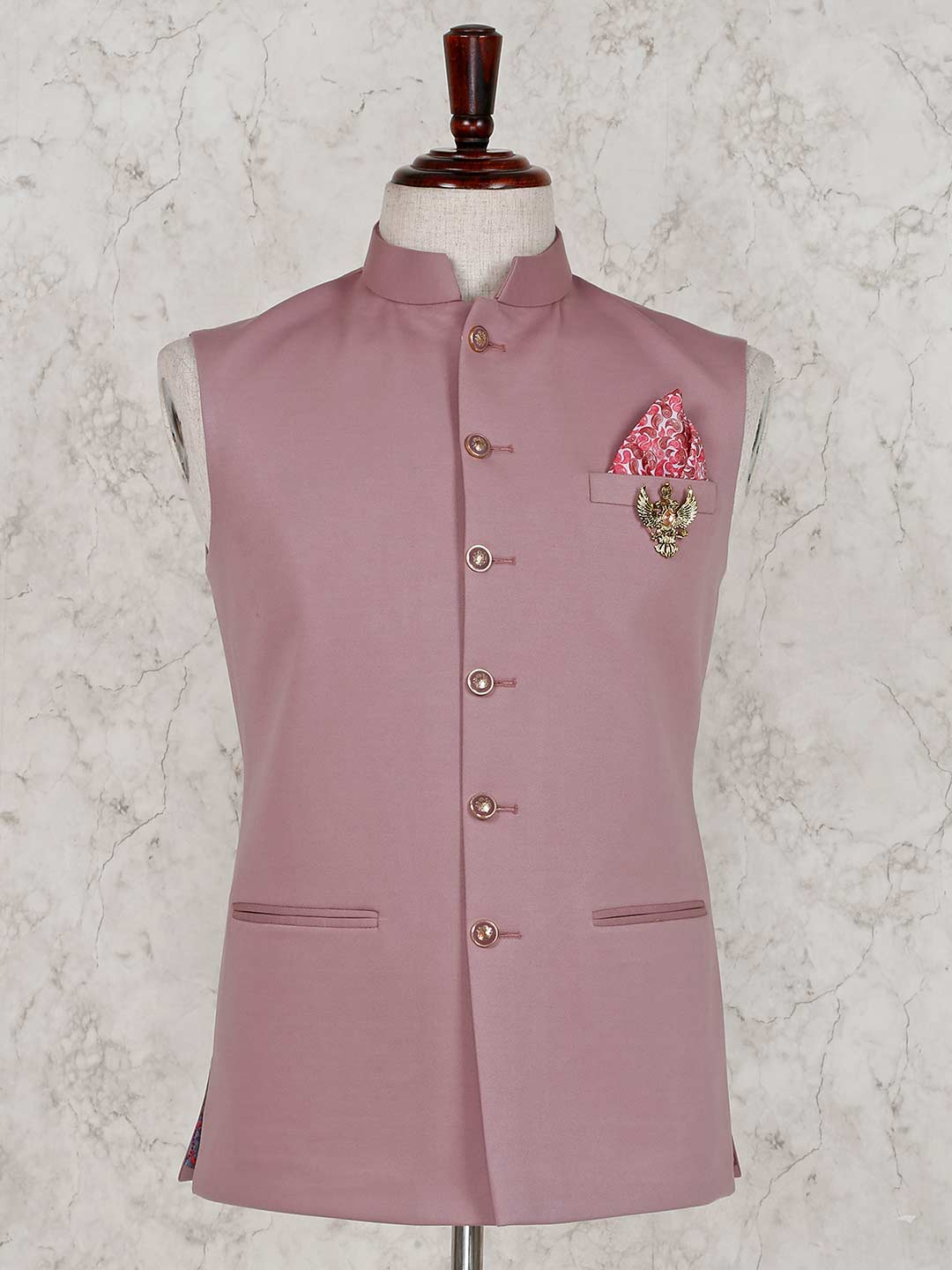 Pink party wear solid terry rayon waistcoat?imgeng=w_400