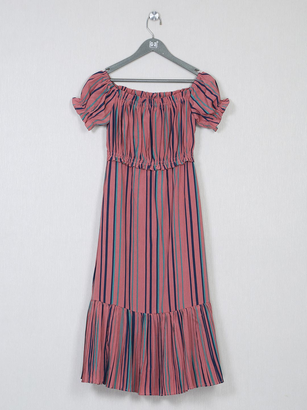Pink poly cotton striped dress for women?imgeng=w_400