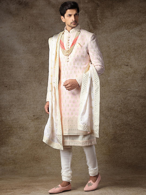 Pink raw silk fabric sherwani for wedding occasions?imgeng=w_400