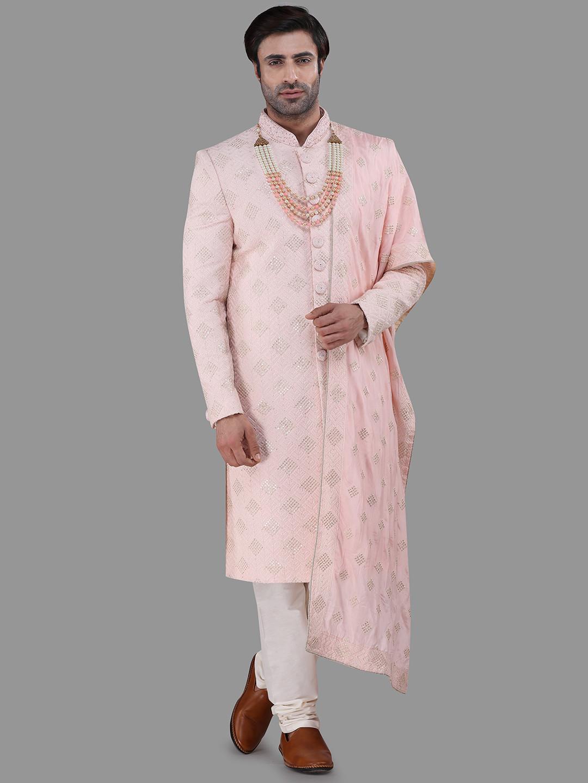 Pink silk sherwani wedding wear?imgeng=w_400