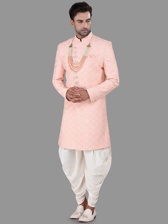 Pink thread work silk indo western for mens?imgeng=w_400