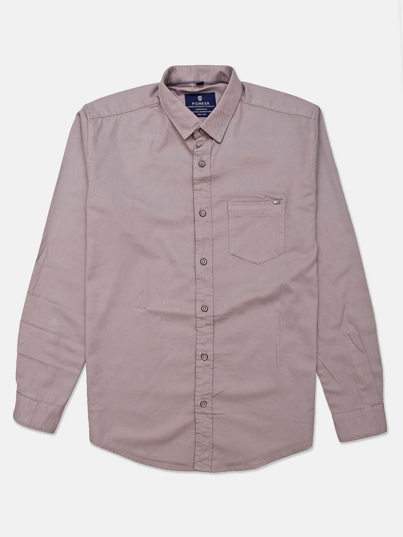 Pioneer grey solid mens cotton shirt?imgeng=w_400