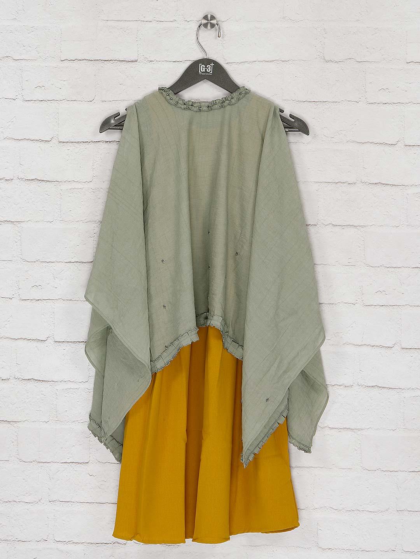 Pista green cape top and yellow hue kurti dress?imgeng=w_400