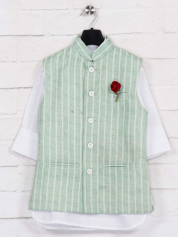 Pista green patch pocket jute waistcoat set?imgeng=w_400