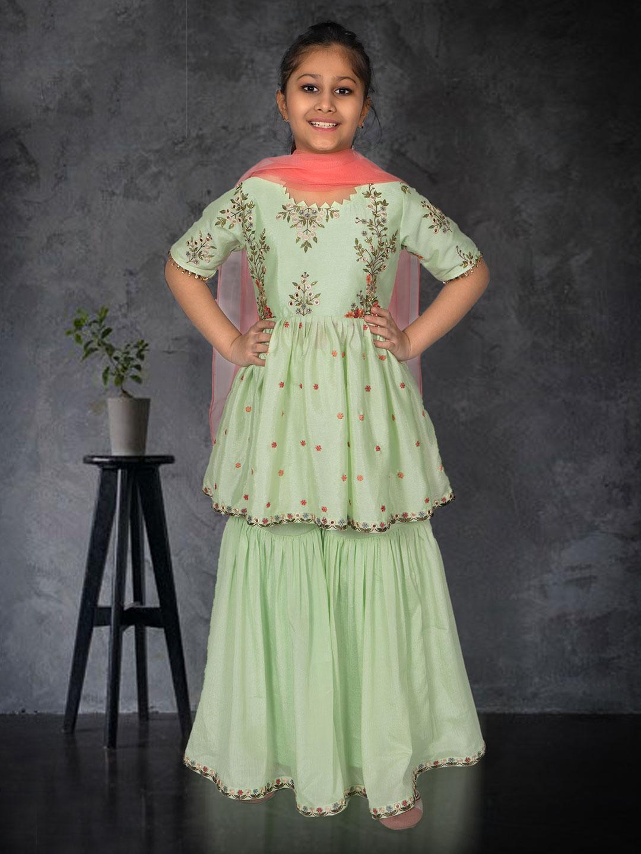 Pista green punjabi sharara suit in cotton silk for girls?imgeng=w_400