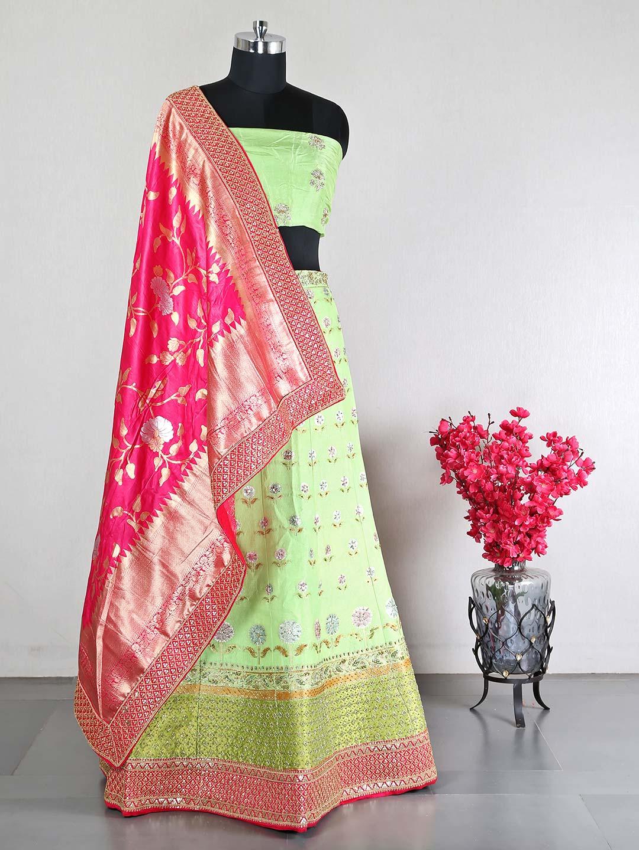 Pista green silk weding wear unstitched lehenga choli?imgeng=w_400