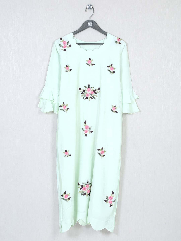Pista green solid casual wear raw silk kurti?imgeng=w_400
