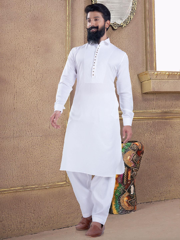 Plain and sober white pathani suit?imgeng=w_400