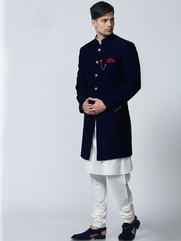 Plain navy festive wear terry rayon indo western?imgeng=w_400