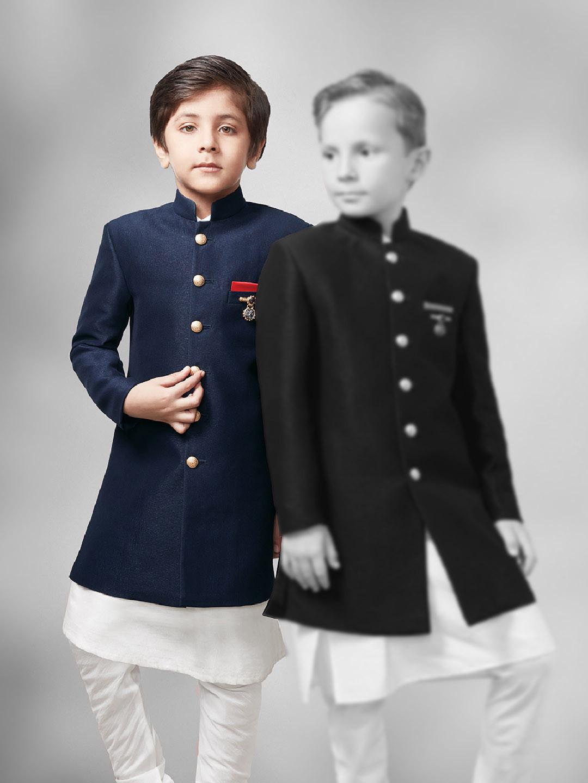 Plain navy hue festive wear two piece indo western?imgeng=w_400