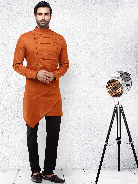 Pleated rust orange color cotton kurta suit?imgeng=w_400
