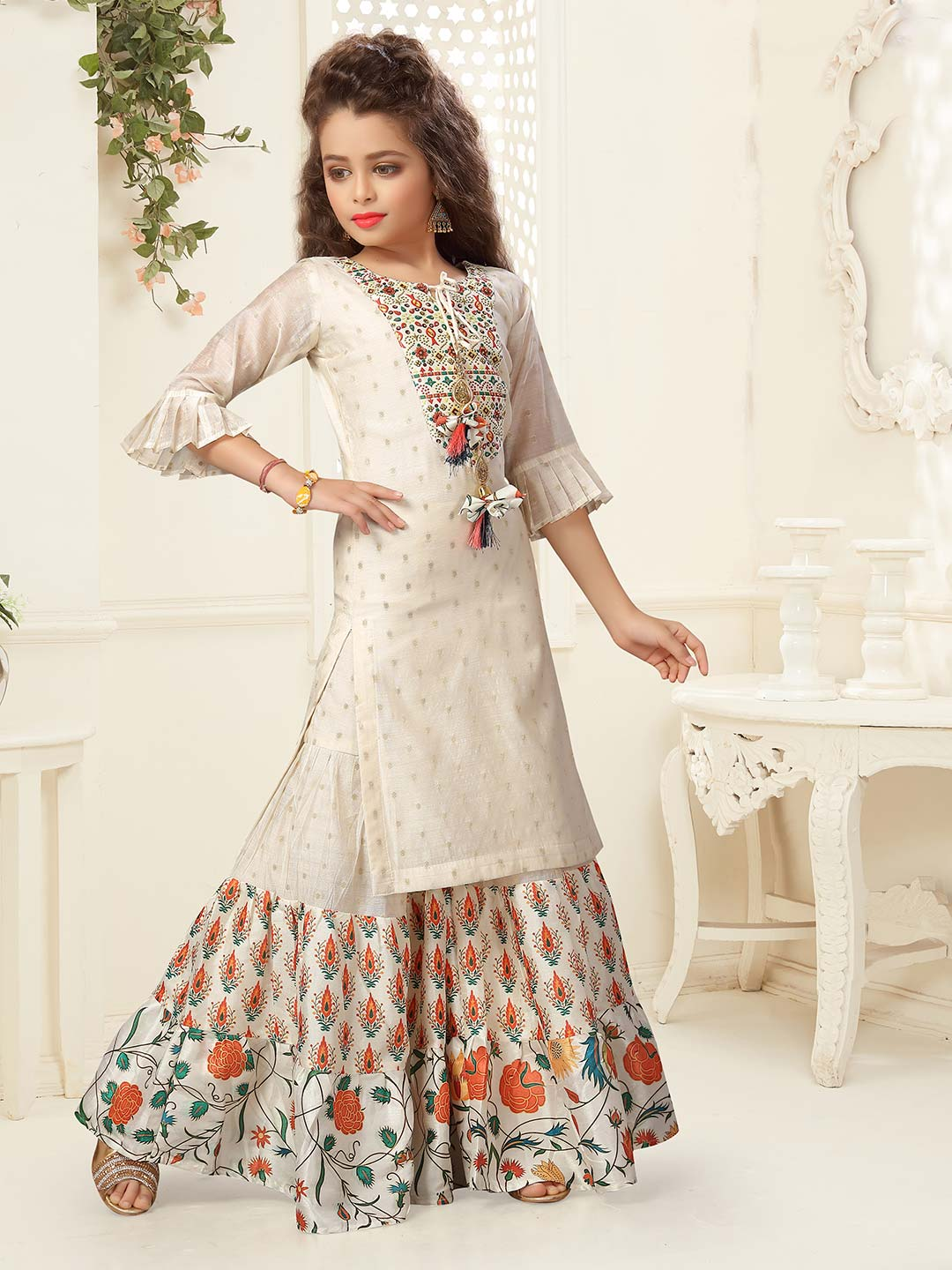 Precious cream printed cotton silk sharara suit for party?imgeng=w_400
