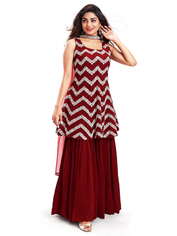 Precious maroon punjabi style festive wear salwar suit?imgeng=w_400