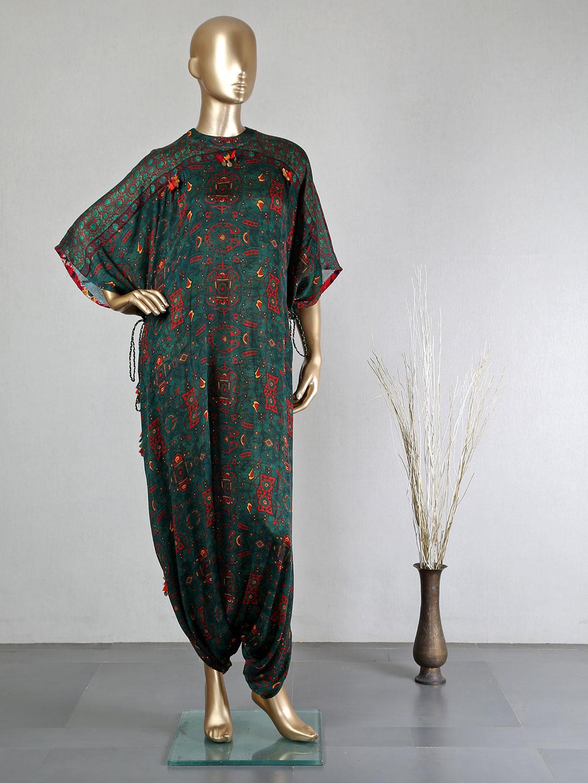 Presenting dark green georgette dhoti style salwar suit?imgeng=w_400