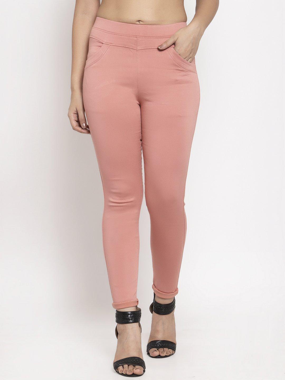 Pretty pink casual wear cotton jeggings?imgeng=w_400