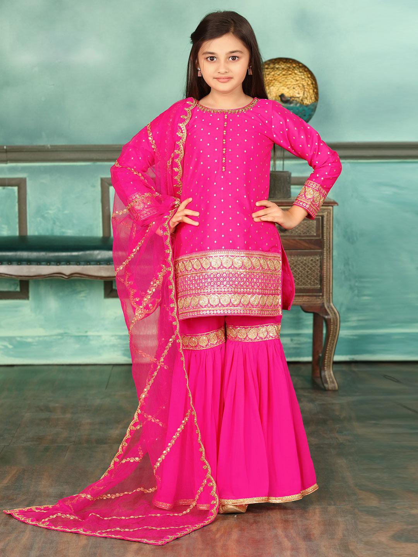 Pretty pink cotton silk punjabi sharara suit?imgeng=w_400