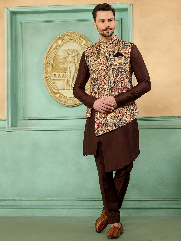 Printed beige and brown hue terry rayon waistcoat set?imgeng=w_400