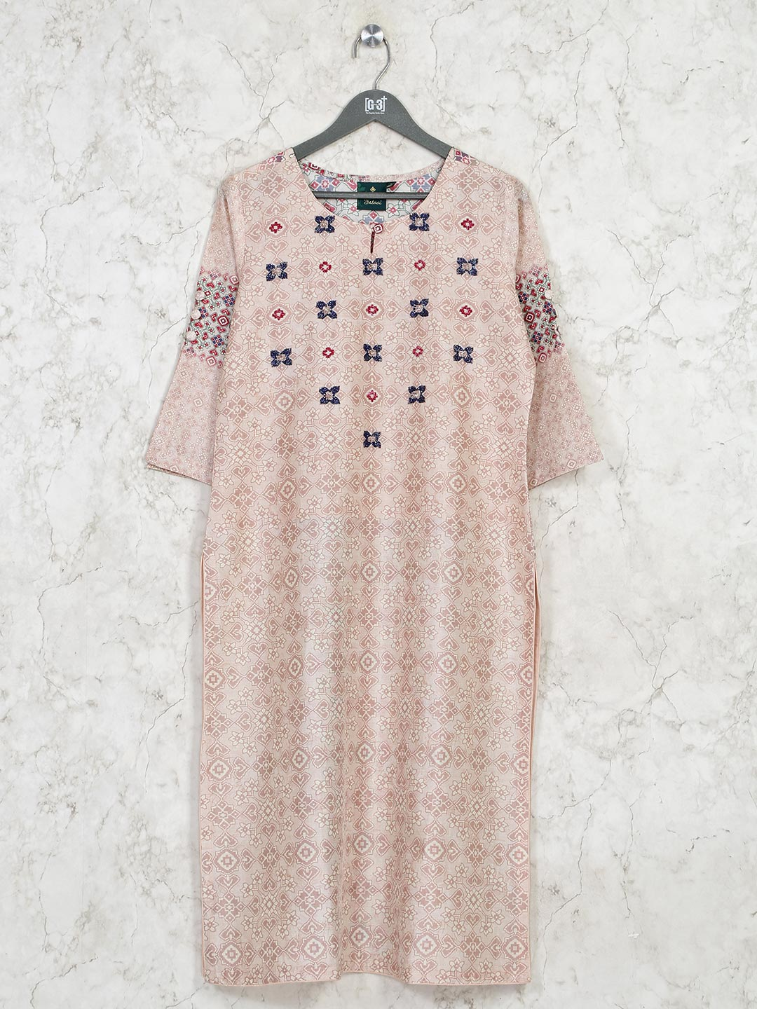 Printed beige cotton casual outing kurti?imgeng=w_400