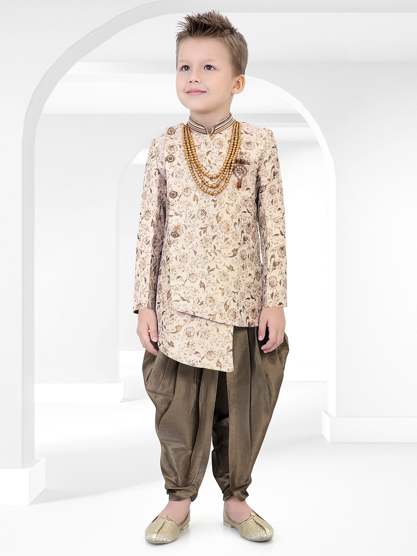 Printed beige cotton silk indo western?imgeng=w_400