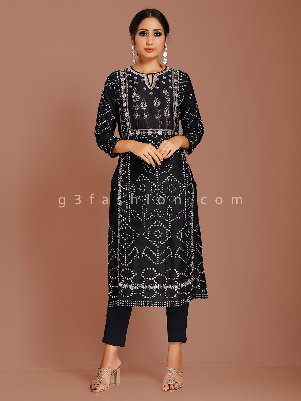 Printed black cotton silk kurti?imgeng=w_400