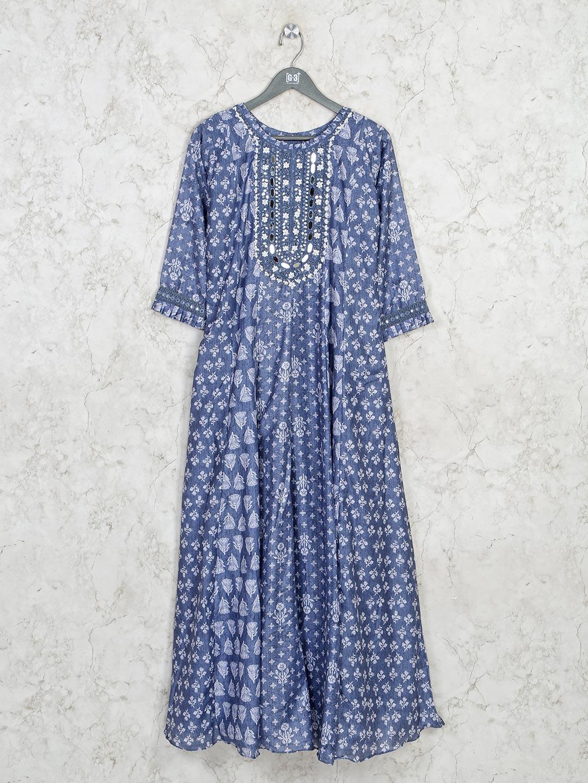 Printed blue casual kurti in cotton?imgeng=w_400