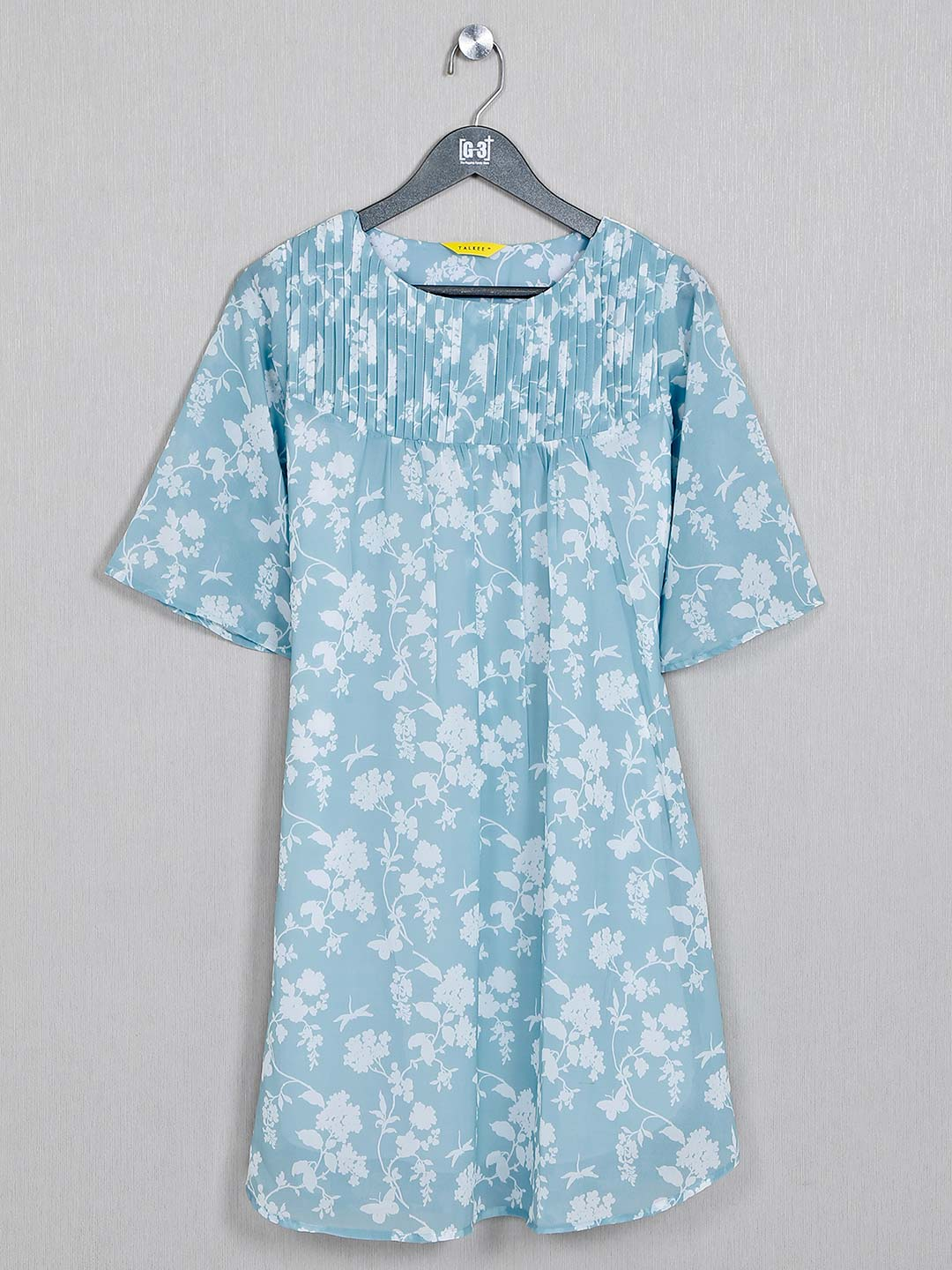 Printed blue cotton womens casual top?imgeng=w_400