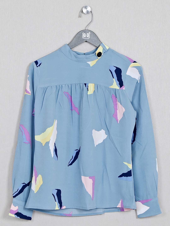 Printed blue designer top in cotton?imgeng=w_400