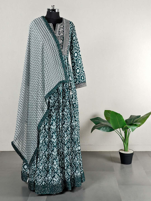 Printed floor length green anarkali suit?imgeng=w_400