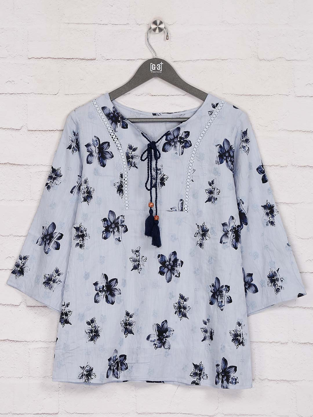 Printed grey cotton casual get together top?imgeng=w_400