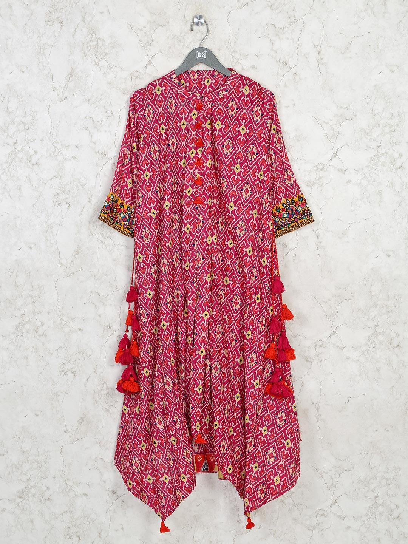 Printed magenta cotton casual kurti?imgeng=w_400