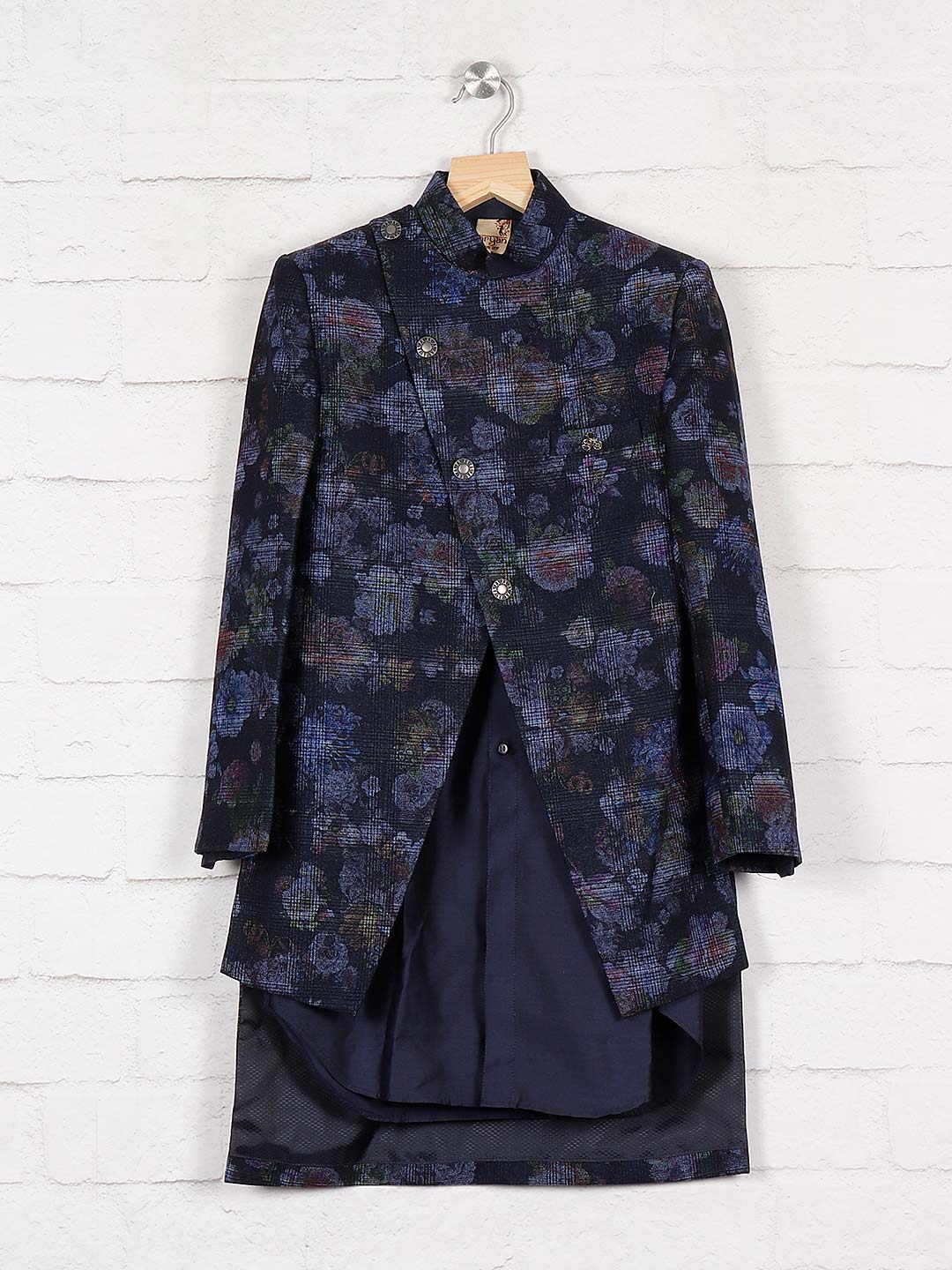 Printed navy color terry rayon indo western?imgeng=w_400