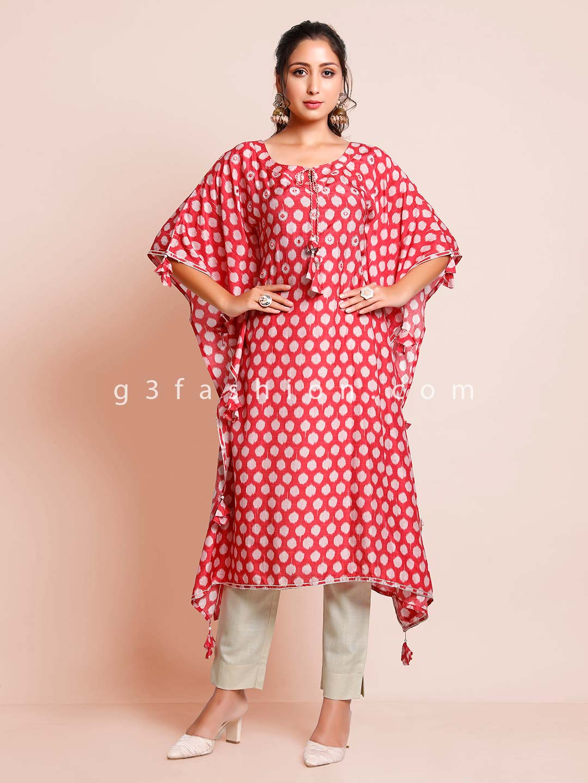 Printed red casual wear kurti for women?imgeng=w_400