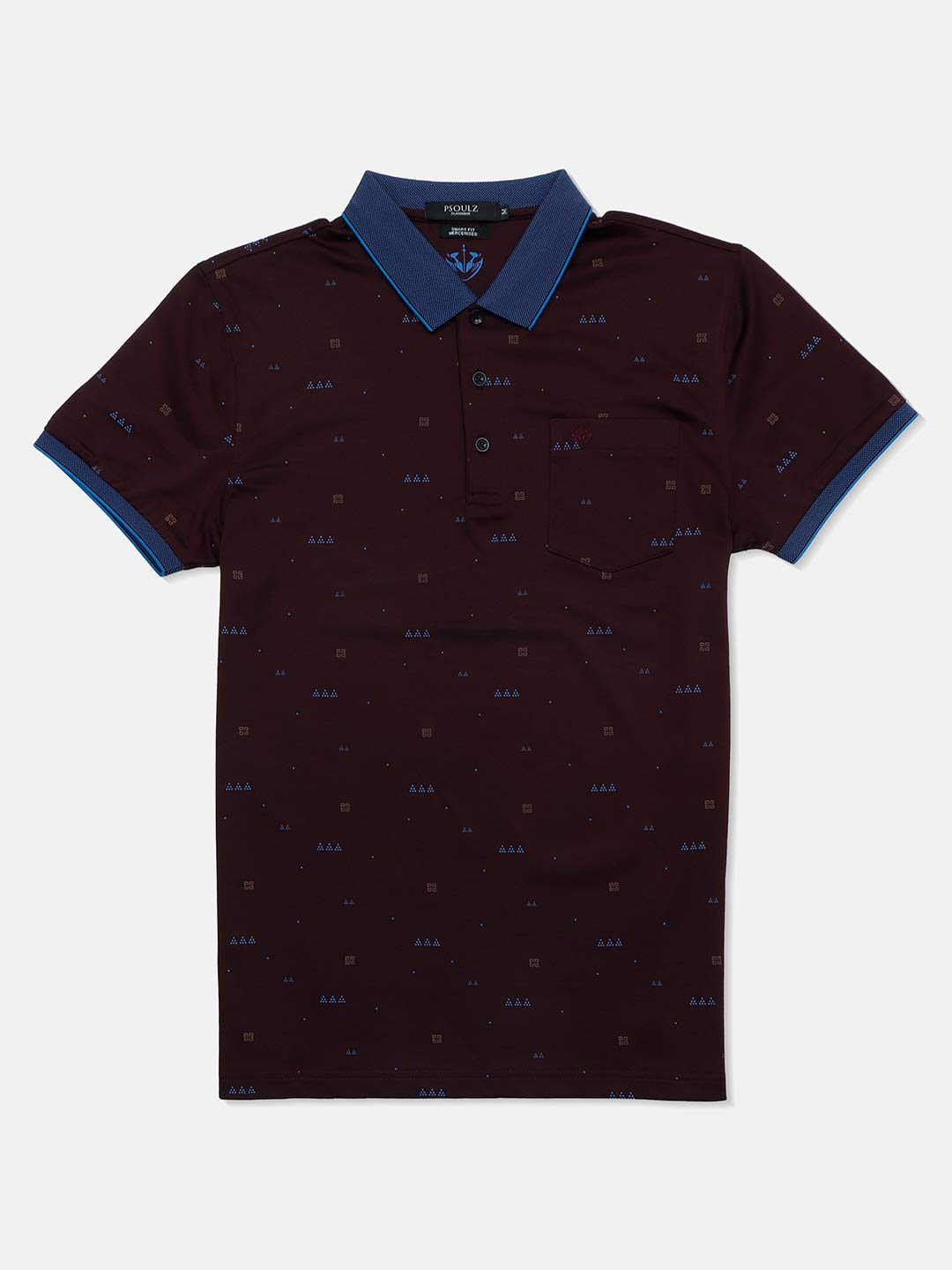 Psoulz printed purple casual polo t-shirt?imgeng=w_400