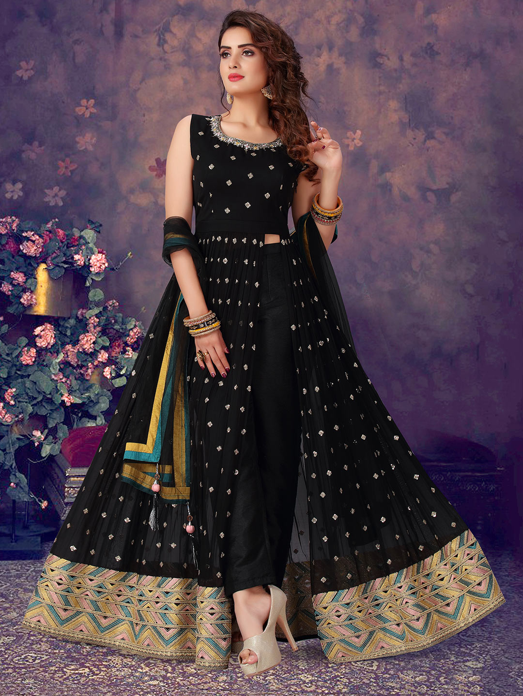 Punjabi style black designer georgette suit?imgeng=w_400