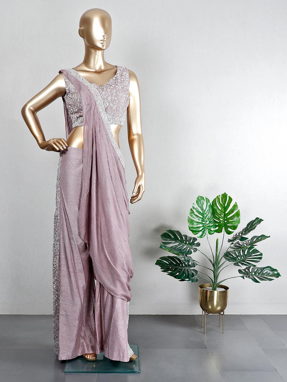 Purple raw silk wedding wear palazzo suit?imgeng=w_400