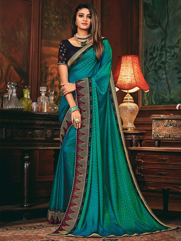 Rama green colored satin silk saree?imgeng=w_400