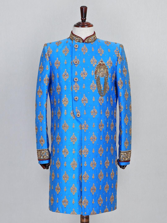 Raw silk blue wedding sherwani in raw silk?imgeng=w_400