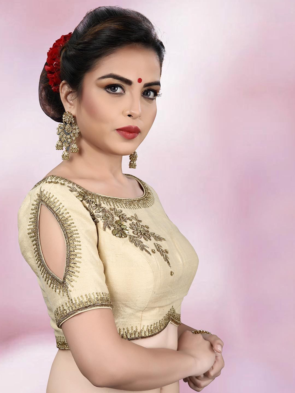 Raw silk fabric cream ready made blouse?imgeng=w_400