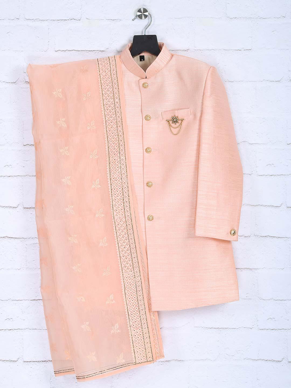 Raw silk fabric peach hue indo western?imgeng=w_400